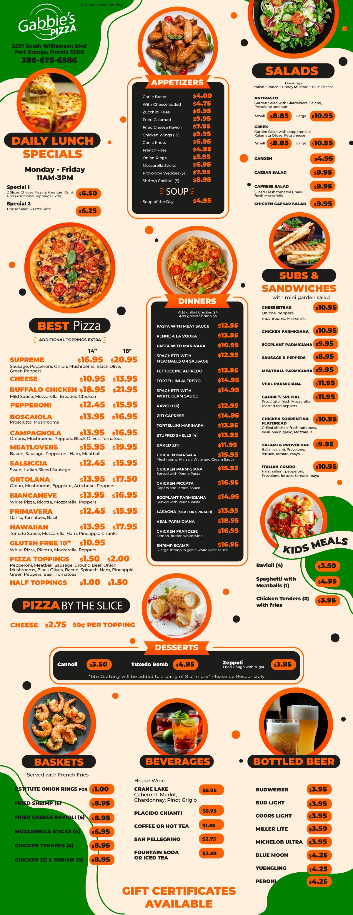 Gabbie's Pizza Menu, Port Orange